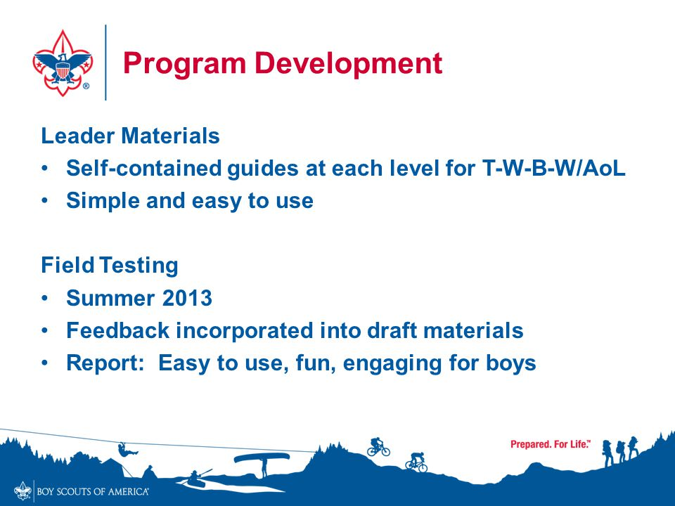 Program Development Leader Materials Self-contained guides at each level for T-W-B-W/AoL Simple and easy to use Field Testing Summer 2013 Feedback inc
