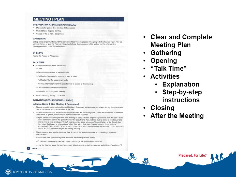 "Clear and Complete Meeting Plan Gathering Opening ""Talk Time"" Activities Explanation Step-by-step instructions Closing After the Meeting"