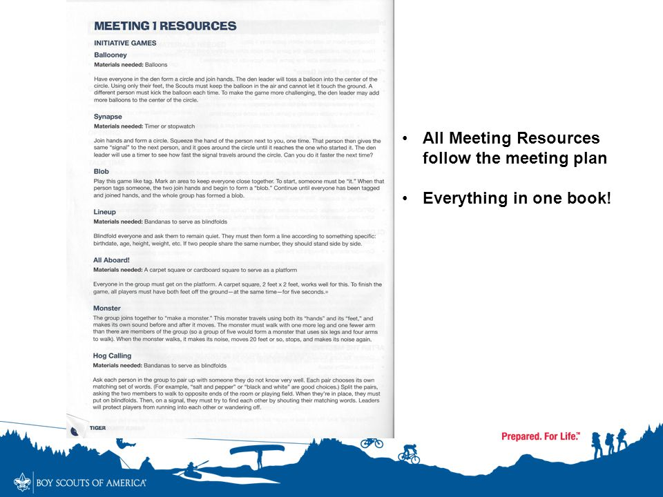 All Meeting Resources follow the meeting plan Everything in one book!