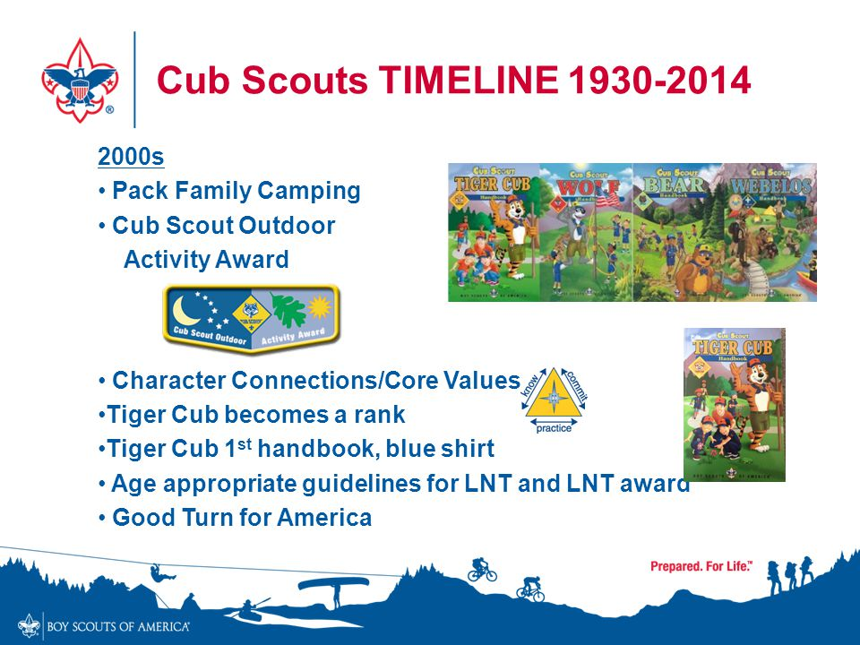 Cub Scouts TIMELINE 1930-2014 2000s Pack Family Camping Cub Scout Outdoor Activity Award Character Connections/Core Values Tiger Cub becomes a rank Ti