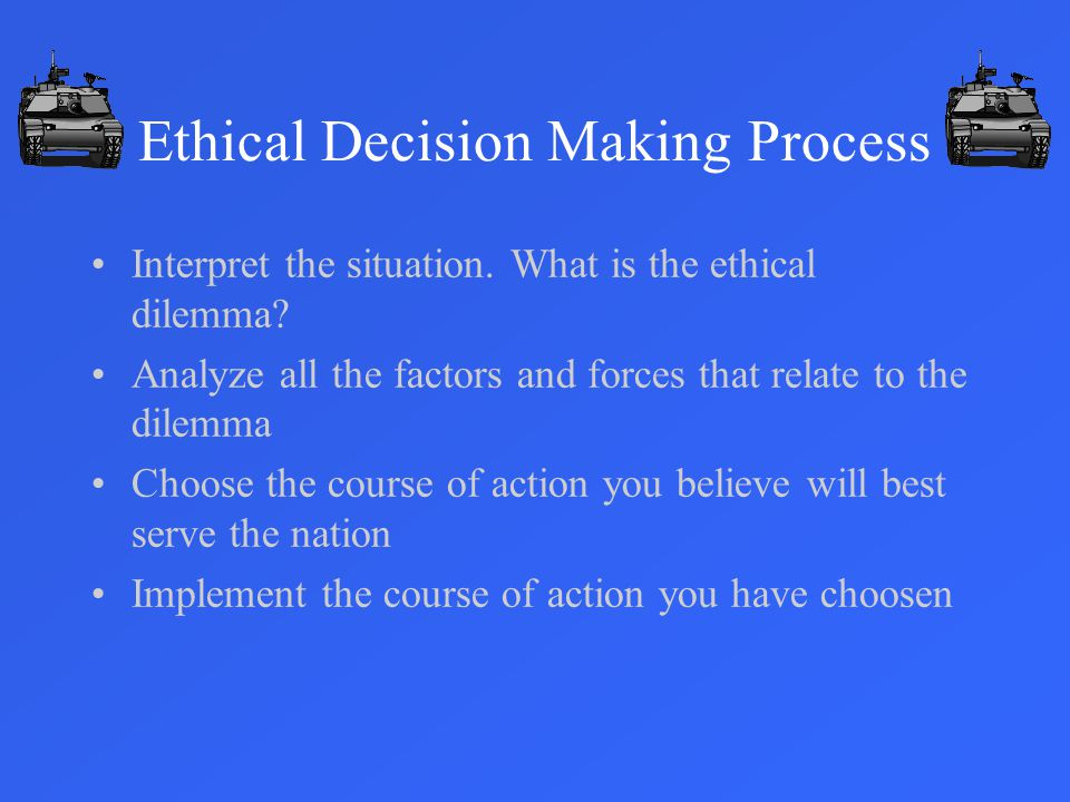 Ethical Decision Making Process Interpret the situation.