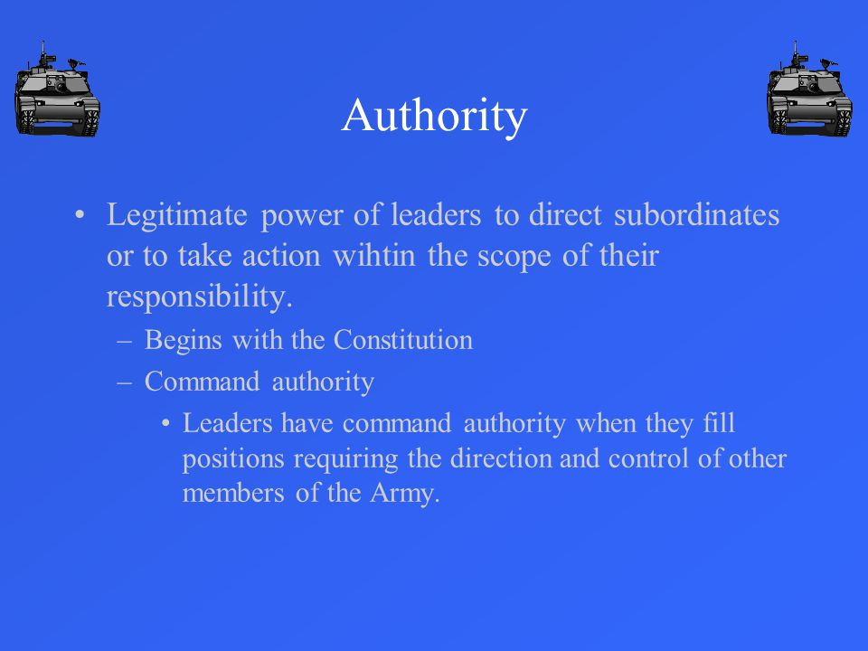 Authority Legitimate power of leaders to direct subordinates or to take action wihtin the scope of their responsibility.