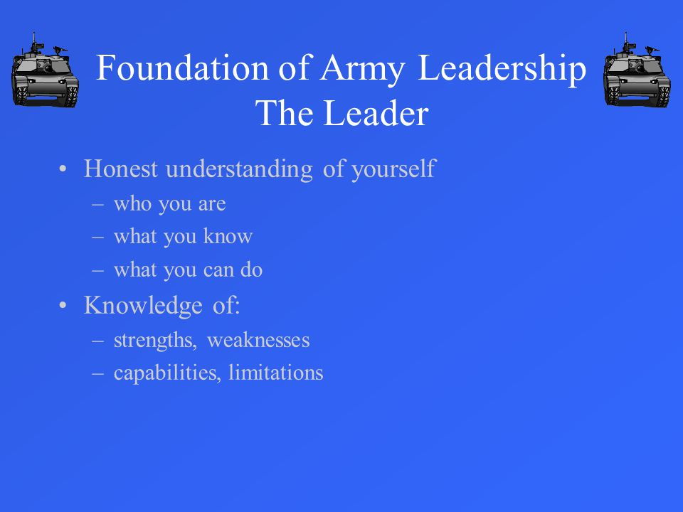 Foundation of Army Leadership The Leader Honest understanding of yourself –who you are –what you know –what you can do Knowledge of: –strengths, weaknesses –capabilities, limitations