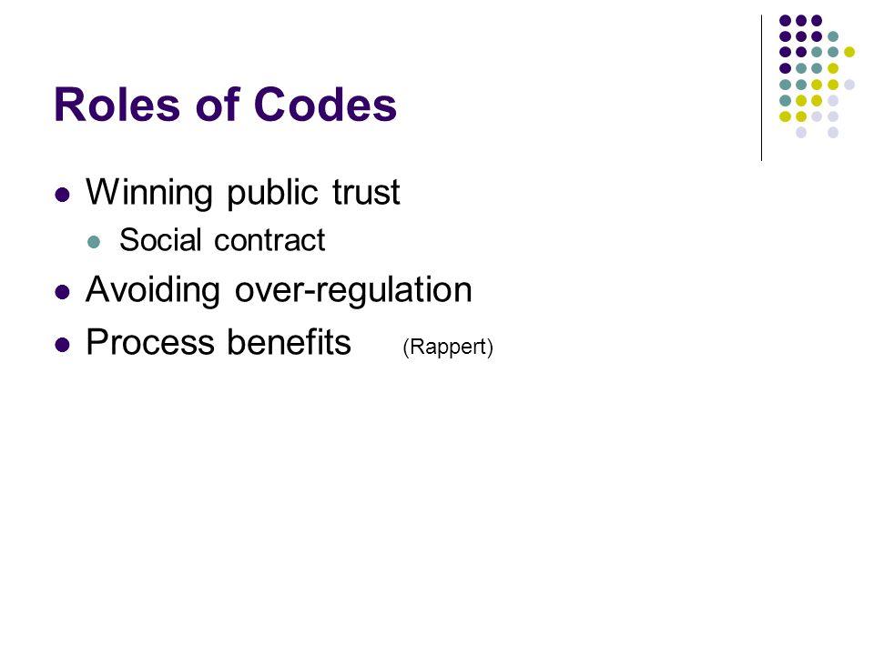Roles of Codes Winning public trust Social contract Avoiding over-regulation Process benefits (Rappert)