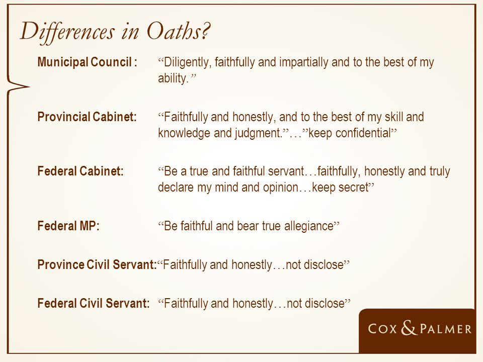 Differences in Oaths.