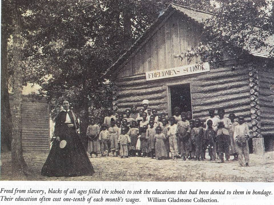 1865, Congress created the Freedman's Bureau to help former slaves get a new start in life.
