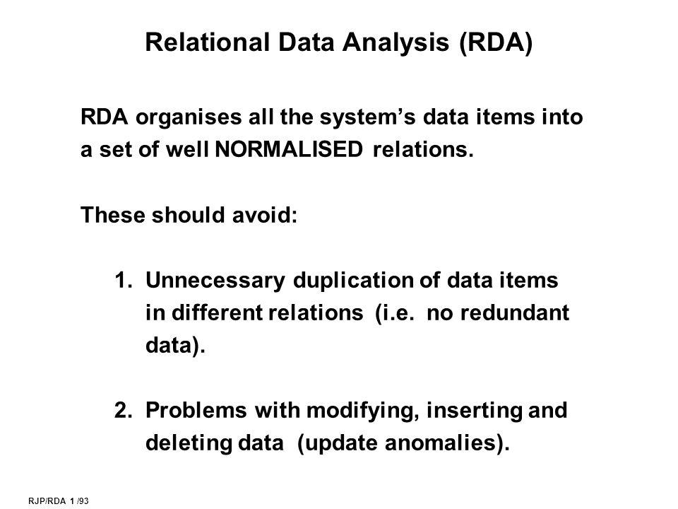 RJP/RDA 2 /93 Relations Primary key Tuple (row) Attribute (column name) Foreign key