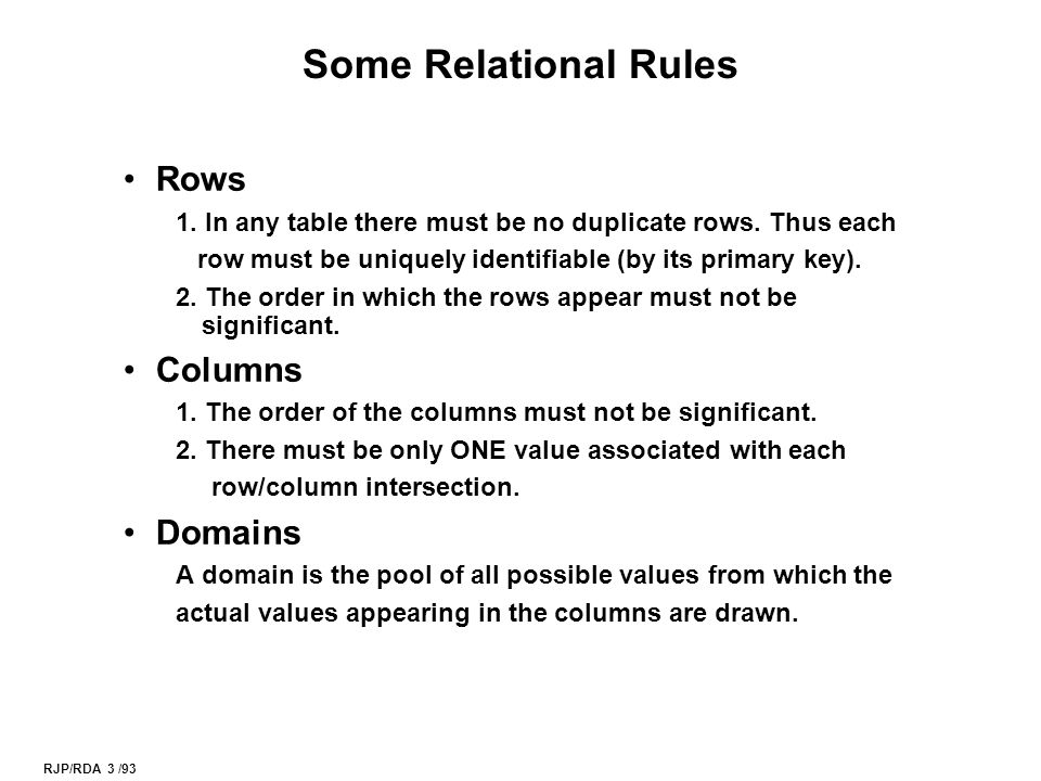RJP/RDA 3 /93 Some Relational Rules Rows 1. In any table there must be no duplicate rows.