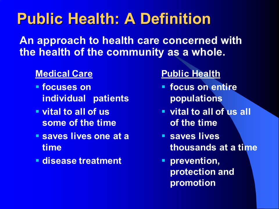 Public Health: A Definition An approach to health care concerned with the health of the community as a whole.