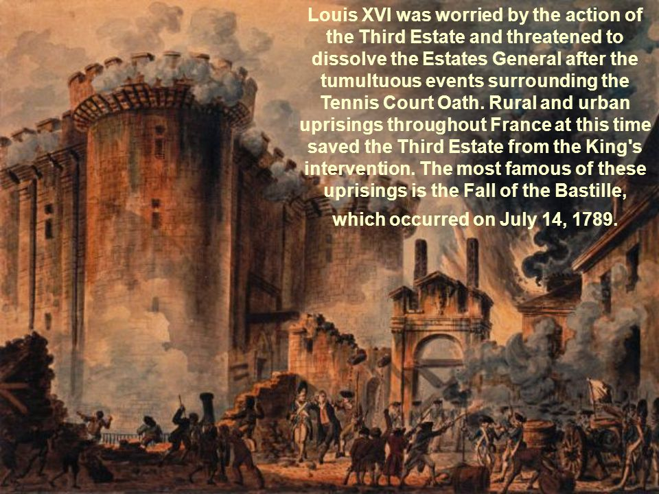Louis XVI was worried by the action of the Third Estate and threatened to dissolve the Estates General after the tumultuous events surrounding the Ten