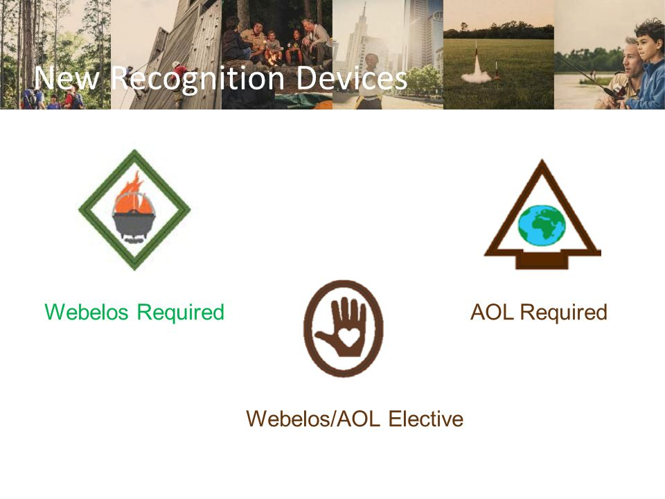 New Recognition Devices Webelos Required AOL Required Webelos/AOL Elective