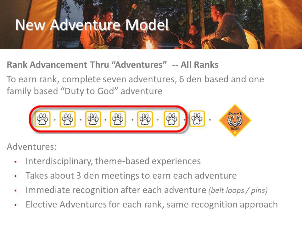 Rank Advancement Thru Adventures -- All Ranks To earn rank, complete seven adventures, 6 den based and one family based Duty to God adventure Adventures: Interdisciplinary, theme-based experiences Takes about 3 den meetings to earn each adventure Immediate recognition after each adventure (belt loops / pins) Elective Adventures for each rank, same recognition approach New Adventure Model