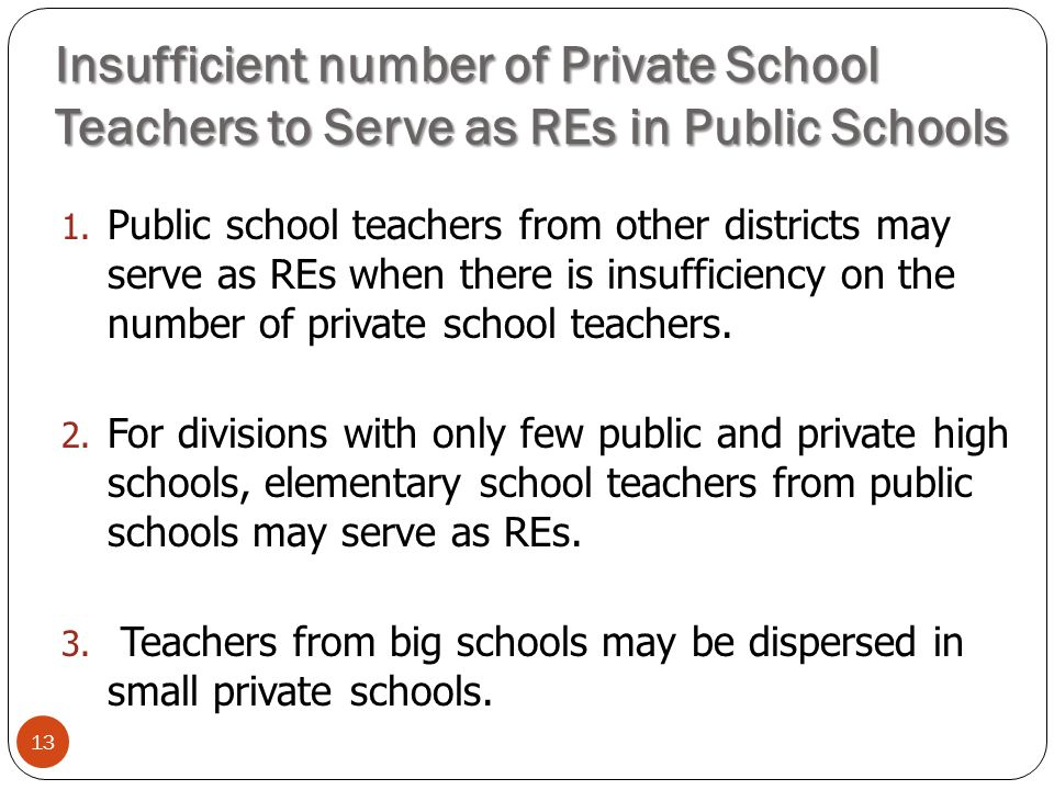 Insufficient number of Private School Teachers to Serve as REs in Public Schools 13 1.