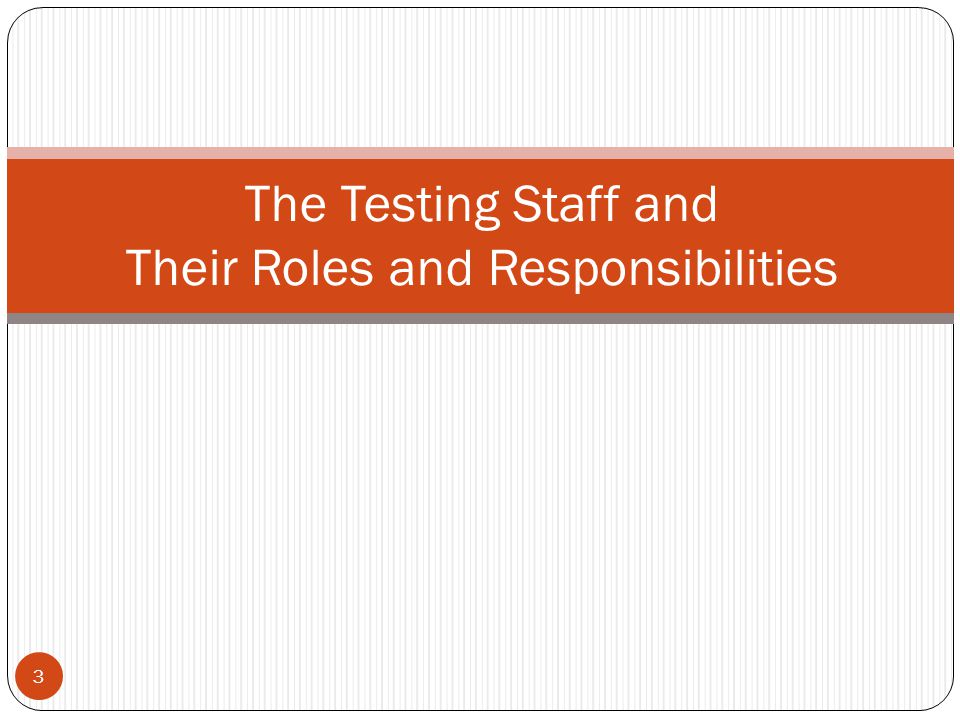 3 The Testing Staff and Their Roles and Responsibilities