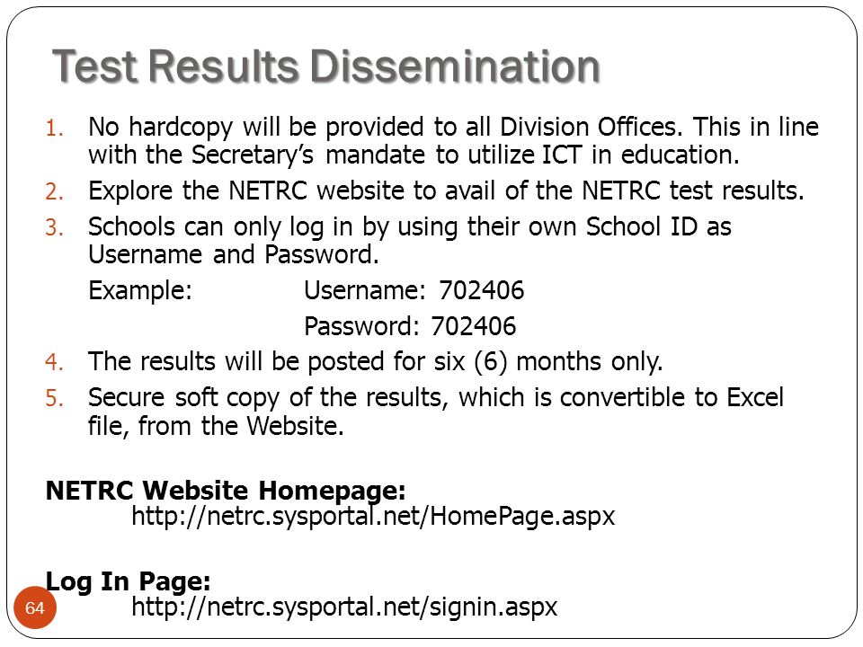 64 1.No hardcopy will be provided to all Division Offices.