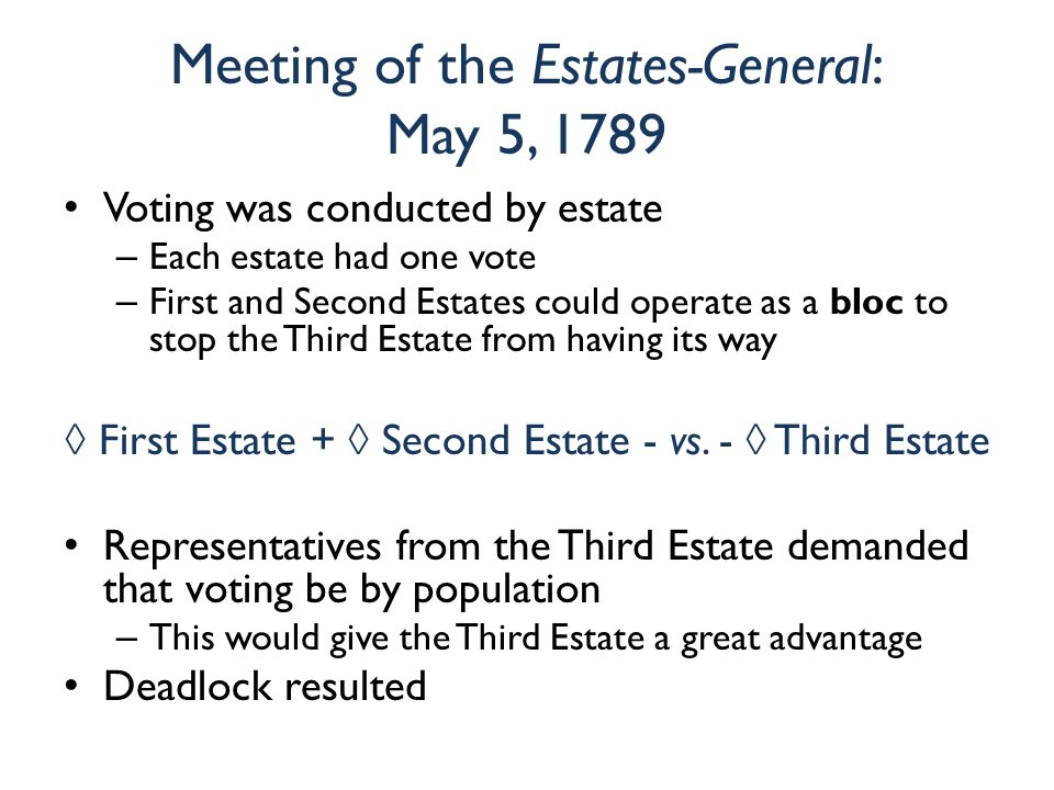 Meeting of the Estates-General: May 5, 1789 Voting was conducted by estate – Each estate had one vote – First and Second Estates could operate as a bloc to stop the Third Estate from having its way ◊ First Estate + ◊ Second Estate - vs.