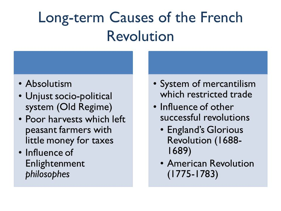 Short-term Causes of the French Revolution Bankruptcy Caused by deficit spending Financial ministers (Turgot, Necker, Calonne) proposed changes But these were rejected Assembly of Notables voted down taxation for the nobility in 1787 Great Fear Worst famine in memory Hungry, impoverished peasants feared that nobles at Estates- General were seeking greater privileges Attacks on nobles occurred throughout the country in 1789 Estates-General Louis XVI had no choice but to call for a meeting of the Estates- General to find a solution to the bankruptcy problem All three estates Had not met since 1614 Set in motion a series of events which resulted in the abolition of the monarchy and a completely new socio- political system for France