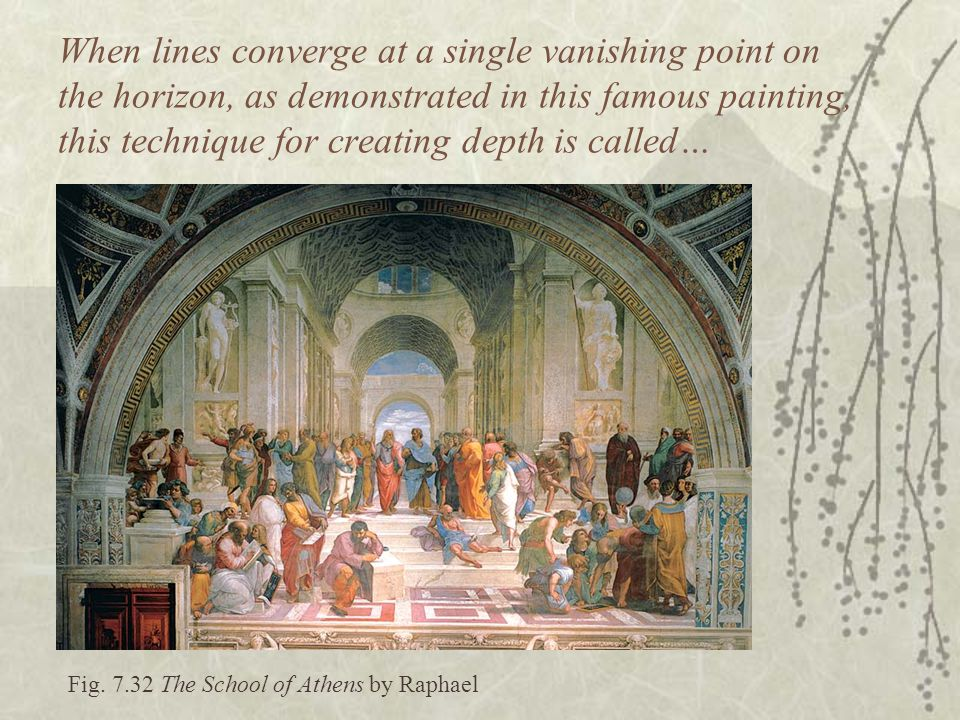 Fig. 7.32 The School of Athens by Raphael When lines converge at a single vanishing point on the horizon, as demonstrated in this famous painting, thi
