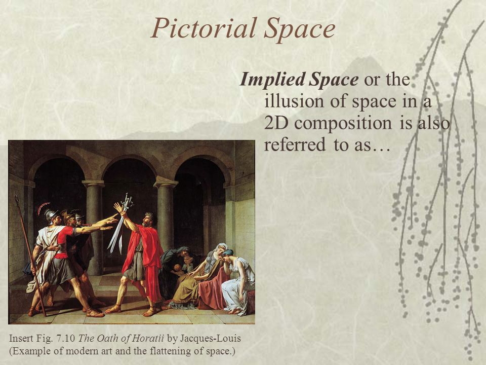 Pictorial Space Insert Fig. 7.10 The Oath of Horatii by Jacques-Louis (Example of modern art and the flattening of space.) Implied Space or the illusi