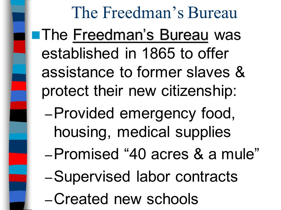 The Freedman's Bureau Freedman's Bureau The Freedman's Bureau was established in 1865 to offer assistance to former slaves & protect their new citizen