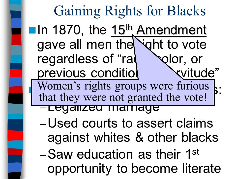 """Gaining Rights for Blacks 15 th Amendment In 1870, the 15 th Amendment gave all men the right to vote regardless of """"race, color, or previous conditio"""