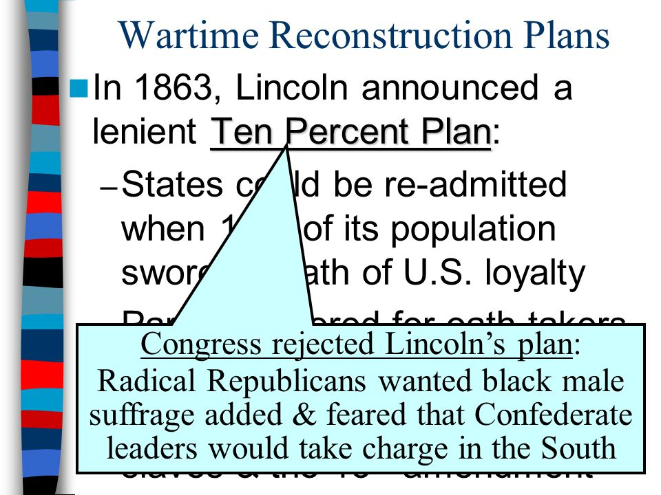 Wartime Reconstruction Plans Ten Percent Plan In 1863, Lincoln announced a lenient Ten Percent Plan: – States could be re-admitted when 10% of its pop