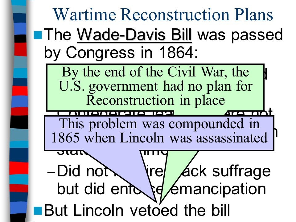 Wartime Reconstruction Plans Wade-Davis Bill The Wade-Davis Bill was passed by Congress in 1864: – 50% of state populations had to swear an oath of lo