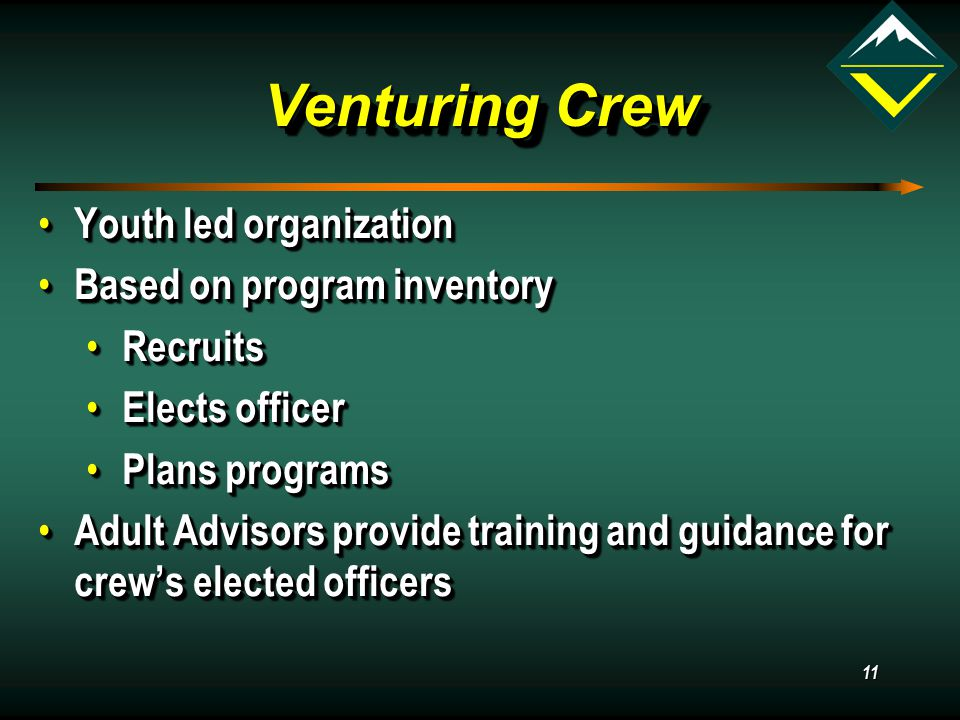 11 Venturing Crew Youth led organization Youth led organization Based on program inventory Based on program inventory Recruits Recruits Elects officer Elects officer Plans programs Plans programs Adult Advisors provide training and guidance for crew's elected officers Adult Advisors provide training and guidance for crew's elected officers Youth led organization Youth led organization Based on program inventory Based on program inventory Recruits Recruits Elects officer Elects officer Plans programs Plans programs Adult Advisors provide training and guidance for crew's elected officers Adult Advisors provide training and guidance for crew's elected officers