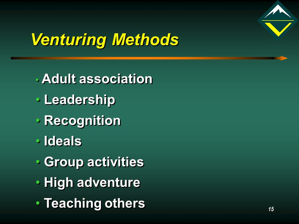 15 Venturing Methods Adult association Leadership Recognition Ideals Group activities High adventure Teaching others Adult association Leadership Recognition Ideals Group activities High adventure Teaching others