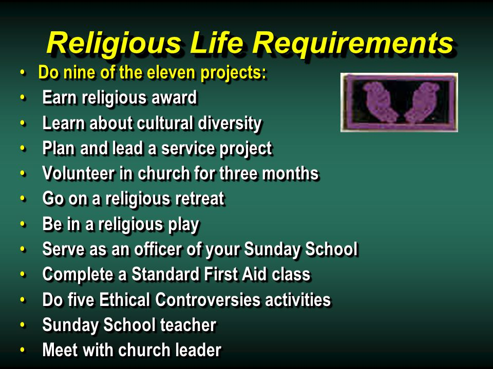Religious Life Requirements Do nine of the eleven projects: Do nine of the eleven projects: Earn religious award Earn religious award Learn about cultural diversity Learn about cultural diversity Plan and lead a service project Plan and lead a service project Volunteer in church for three months Volunteer in church for three months Go on a religious retreat Go on a religious retreat Be in a religious play Be in a religious play Serve as an officer of your Sunday School Serve as an officer of your Sunday School Complete a Standard First Aid class Complete a Standard First Aid class Do five Ethical Controversies activities Do five Ethical Controversies activities Sunday School teacher Sunday School teacher Meet with church leader Meet with church leader Do nine of the eleven projects: Do nine of the eleven projects: Earn religious award Earn religious award Learn about cultural diversity Learn about cultural diversity Plan and lead a service project Plan and lead a service project Volunteer in church for three months Volunteer in church for three months Go on a religious retreat Go on a religious retreat Be in a religious play Be in a religious play Serve as an officer of your Sunday School Serve as an officer of your Sunday School Complete a Standard First Aid class Complete a Standard First Aid class Do five Ethical Controversies activities Do five Ethical Controversies activities Sunday School teacher Sunday School teacher Meet with church leader Meet with church leader