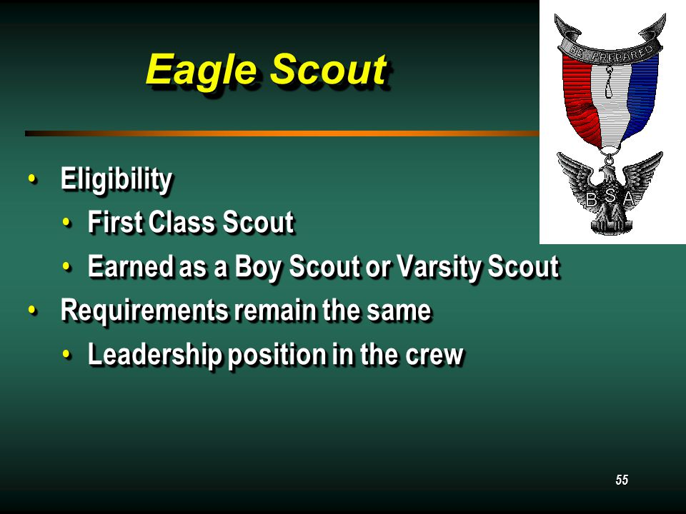 55 Eagle Scout Eligibility Eligibility First Class Scout First Class Scout Earned as a Boy Scout or Varsity Scout Earned as a Boy Scout or Varsity Scout Requirements remain the same Requirements remain the same Leadership position in the crew Leadership position in the crew Eligibility Eligibility First Class Scout First Class Scout Earned as a Boy Scout or Varsity Scout Earned as a Boy Scout or Varsity Scout Requirements remain the same Requirements remain the same Leadership position in the crew Leadership position in the crew