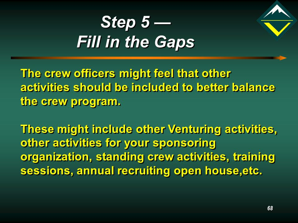 68 Step 5 — Fill in the Gaps Step 5 — Fill in the Gaps The crew officers might feel that other activities should be included to better balance the crew program.
