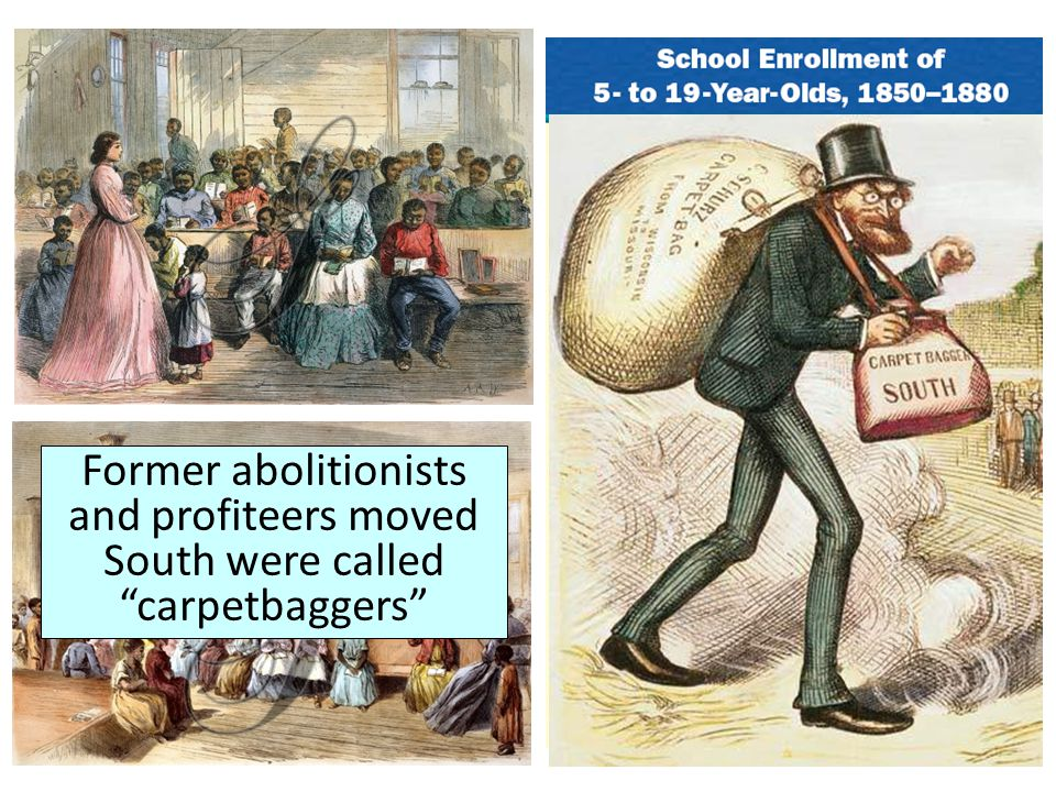 """Former abolitionists and profiteers moved South were called """"carpetbaggers"""""""