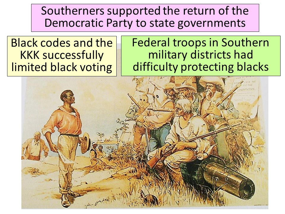 Southerners supported the return of the Democratic Party to state governments Black codes and the KKK successfully limited black voting Federal troops