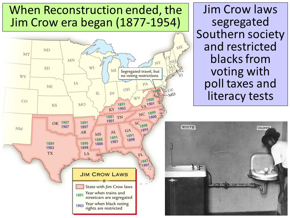 When Reconstruction ended, the Jim Crow era began (1877-1954) Jim Crow laws segregated Southern society and restricted blacks from voting with poll ta