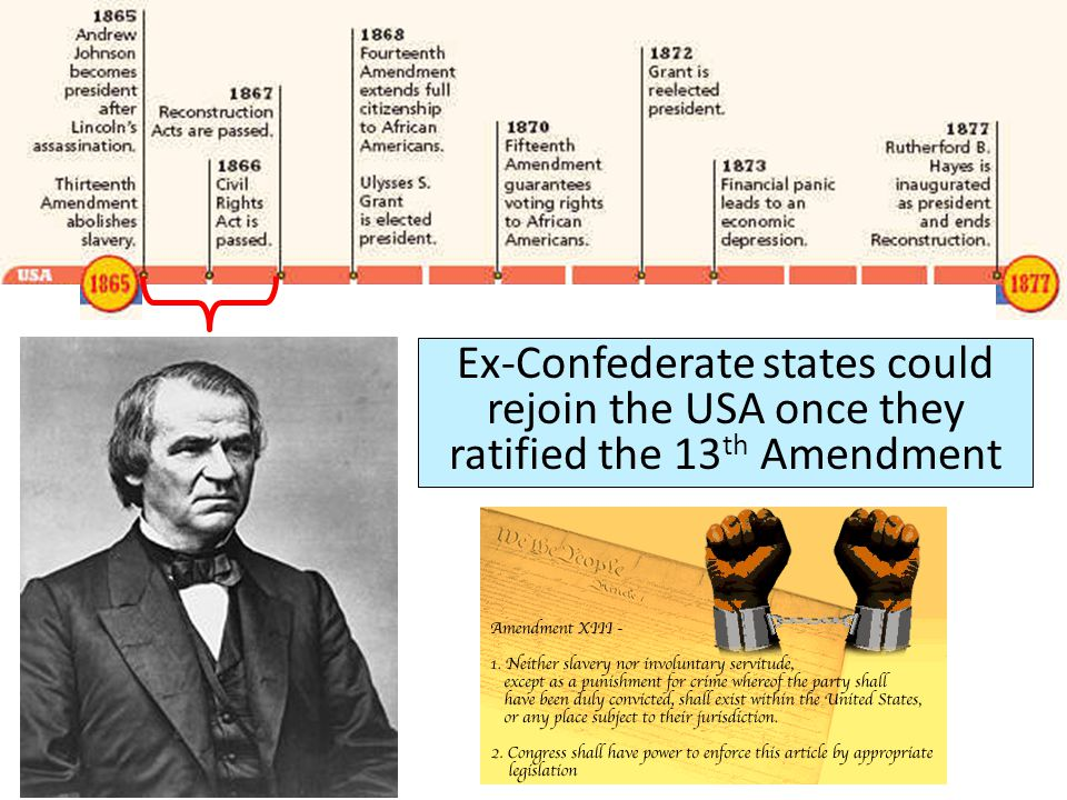 Presidential Reconstruction Ex-Confederate states could rejoin the USA once they ratified the 13 th Amendment