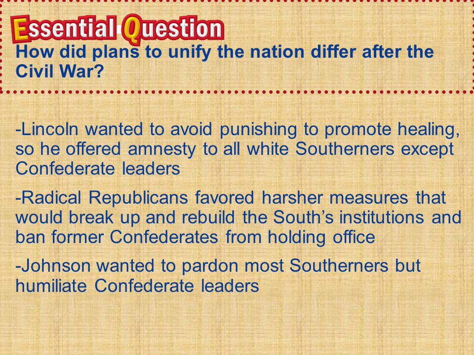 Essential QuestionEssential Question How did plans to unify the nation differ after the Civil War? -Lincoln wanted to avoid punishing to promote heali