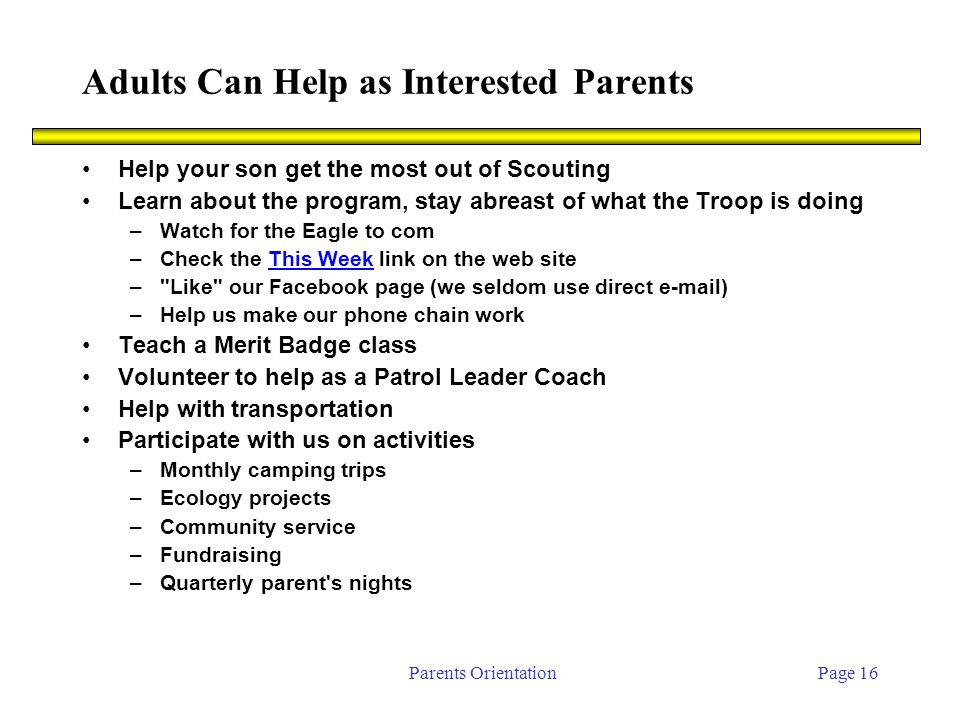 Parents OrientationPage 16 Adults Can Help as Interested Parents Help your son get the most out of Scouting Learn about the program, stay abreast of what the Troop is doing –Watch for the Eagle to com –Check the This Week link on the web siteThis Week – Like our Facebook page (we seldom use direct e-mail) –Help us make our phone chain work Teach a Merit Badge class Volunteer to help as a Patrol Leader Coach Help with transportation Participate with us on activities –Monthly camping trips –Ecology projects –Community service –Fundraising –Quarterly parent s nights