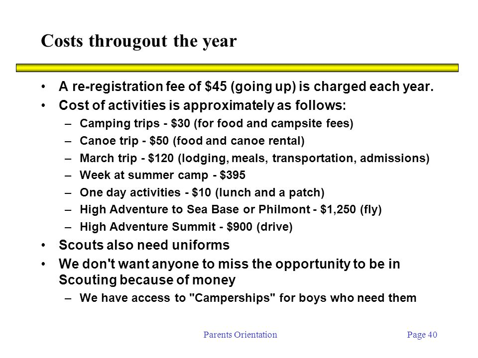 Parents OrientationPage 40 Costs througout the year A re-registration fee of $45 (going up) is charged each year.
