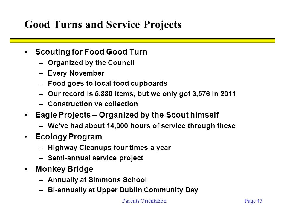 Parents OrientationPage 43 Good Turns and Service Projects Scouting for Food Good Turn –Organized by the Council –Every November –Food goes to local food cupboards –Our record is 5,880 items, but we only got 3,576 in 2011 –Construction vs collection Eagle Projects – Organized by the Scout himself –We ve had about 14,000 hours of service through these Ecology Program –Highway Cleanups four times a year –Semi-annual service project Monkey Bridge –Annually at Simmons School –Bi-annually at Upper Dublin Community Day