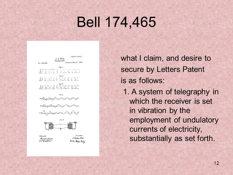 12 Bell 174,465 what I claim, and desire to secure by Letters Patent is as follows: 1.