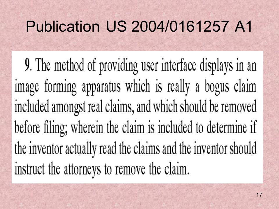 17 Publication US 2004/0161257 A1