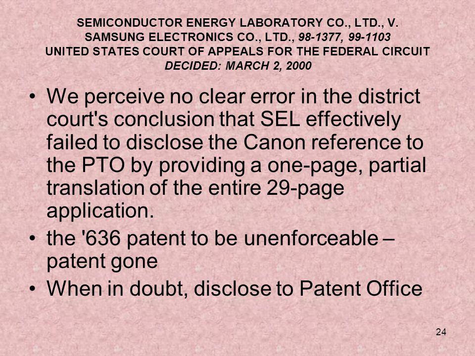 24 SEMICONDUCTOR ENERGY LABORATORY CO., LTD., V.