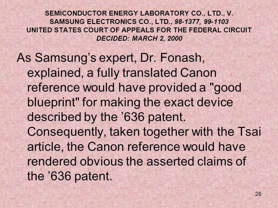 26 SEMICONDUCTOR ENERGY LABORATORY CO., LTD., V.
