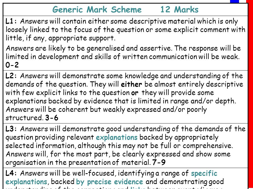 AS History Matters www.pastmatters.org AS History Matters www.pastmatters.org Generic Mark Scheme 12 Marks L3: Answers will demonstrate good understanding of the demands of the question providing relevant explanations backed by appropriately selected information, although this may not be full or comprehensive.