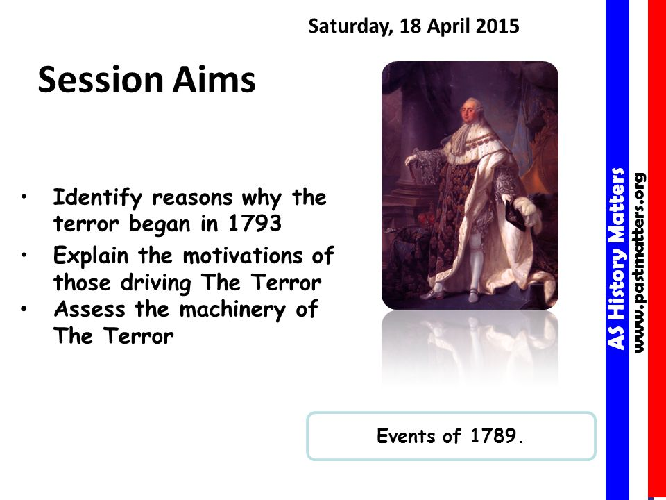 AS History Matters www.pastmatters.org AS History Matters www.pastmatters.org Saturday, 18 April 2015 Session Aims Events of 1789.