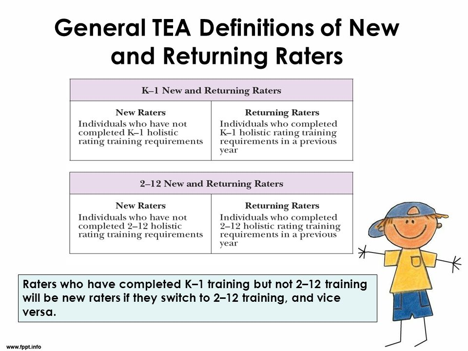 General TEA Definitions of New and Returning Raters Raters who have completed K–1 training but not 2–12 training will be new raters if they switch to