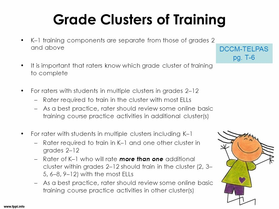 Grade Clusters of Training K–1 training components are separate from those of grades 2 and above It is important that raters know which grade cluster