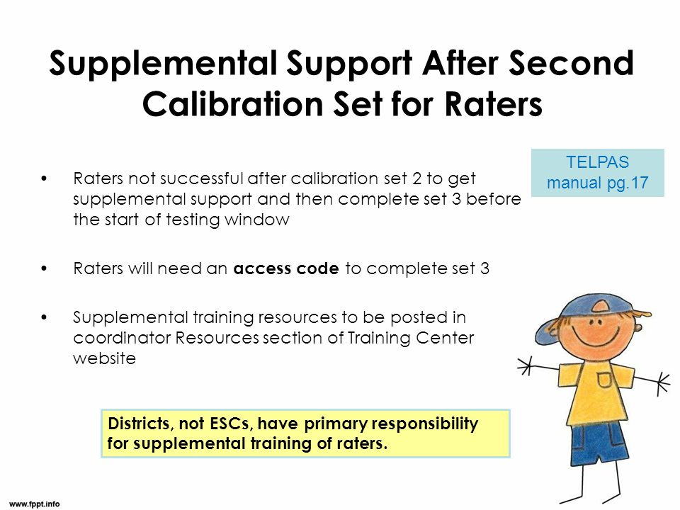 Raters not successful after calibration set 2 to get supplemental support and then complete set 3 before the start of testing window Raters will need