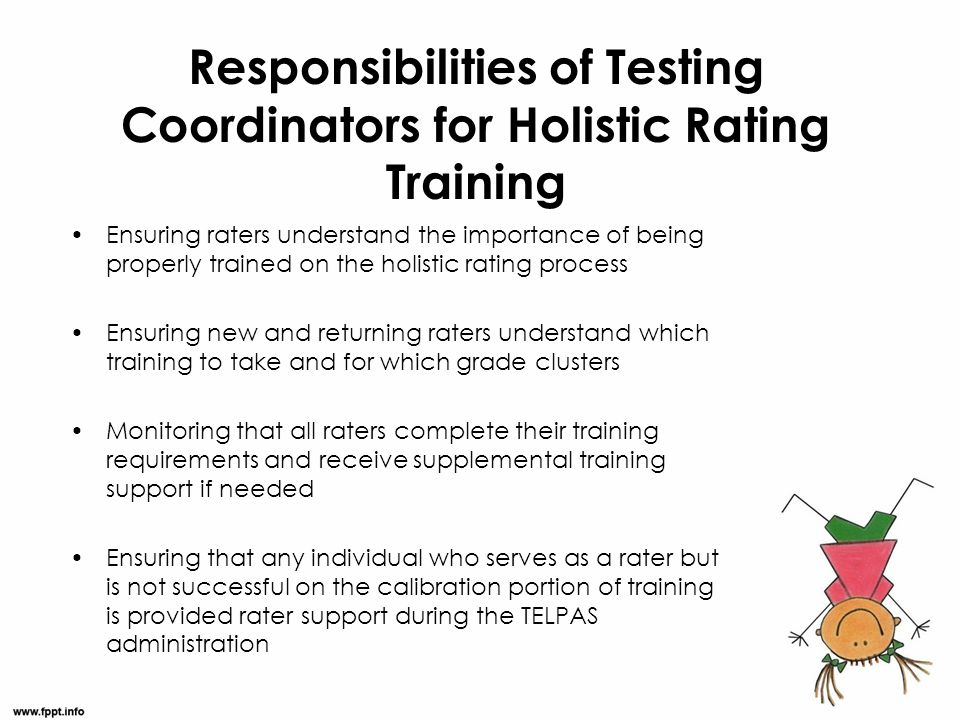 Responsibilities of Testing Coordinators for Holistic Rating Training Ensuring raters understand the importance of being properly trained on the holis